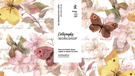 Ontwerpsjabloon van Title van Calligraphy Workshop Announcement Watercolor Flowers