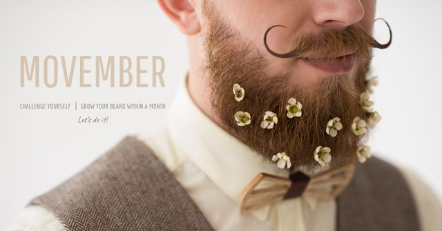 Movember with Man with mustache and beard Facebook AD – шаблон для дизайна