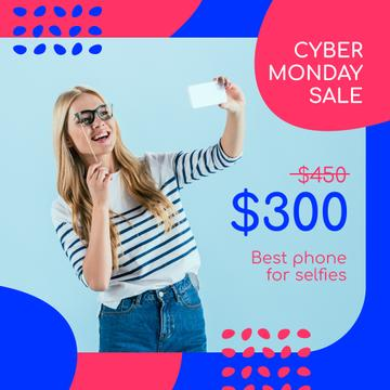 Cyber Monday Sale Girl Taking Selfie | Instagram Ad Template