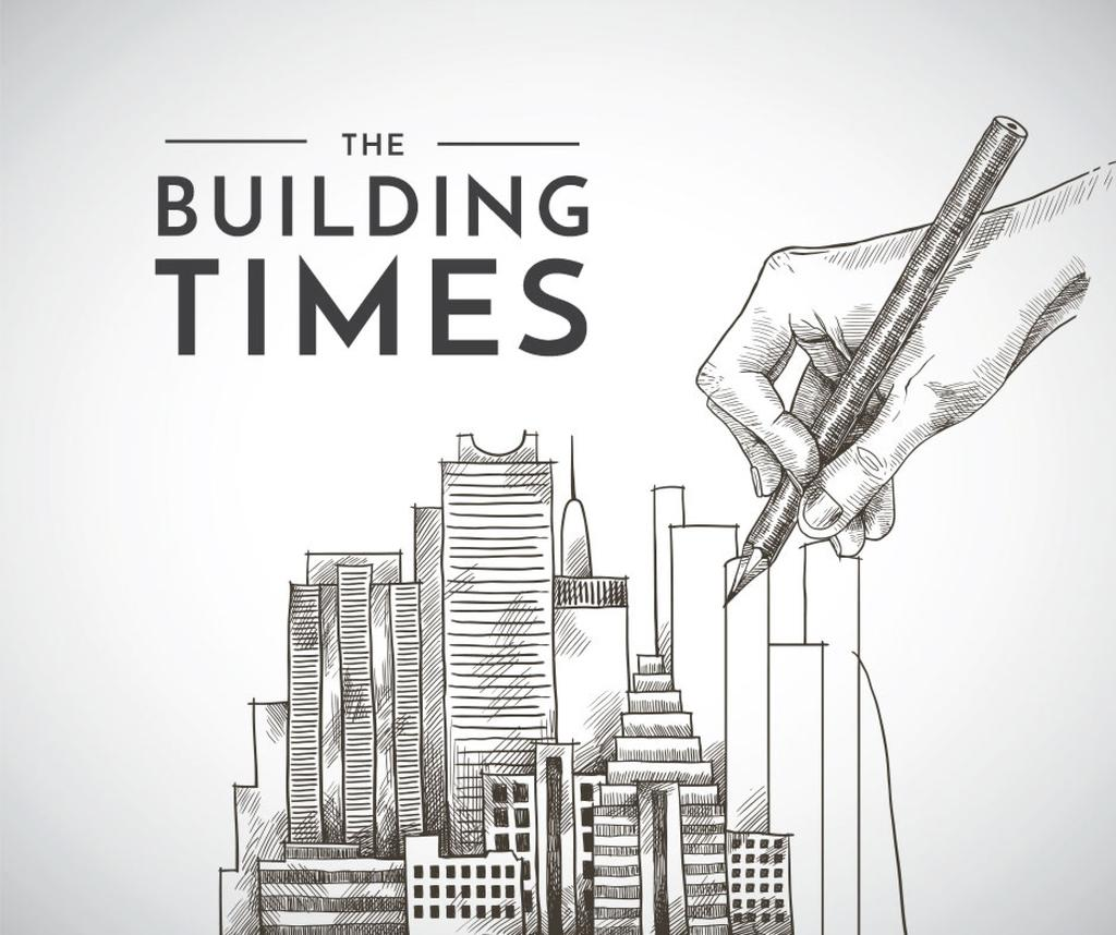 Real Estate news with hand drawing Buildings — Crea un design
