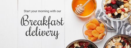 Breakfast Offer Honey and Dried Fruits Granola Facebook cover Design Template