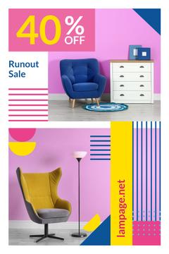 Furniture Shop Ad with Cozy Armchairs in Pink Room
