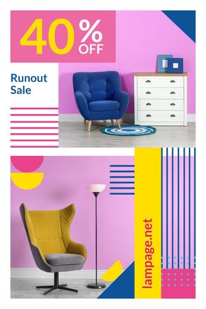 Ontwerpsjabloon van Pinterest van Furniture Shop Ad with Cozy Armchairs in Pink Room