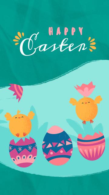 Plantilla de diseño de Easter Greeting Chicks Hatching from Eggs Instagram Video Story