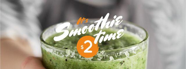 Plantilla de diseño de Woman holding Green Smoothie Facebook cover