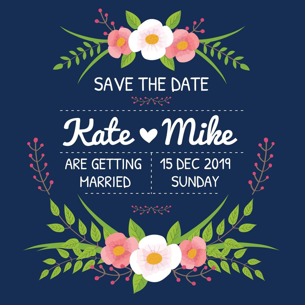 Wedding party Invitation with Flowers — Crea un design