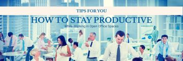 Productivity Tips Colleagues Working in Office | Twitter Header Template