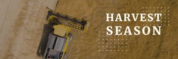 Agricultural Machinery Industry Harvester Working in Field | Email Header Template
