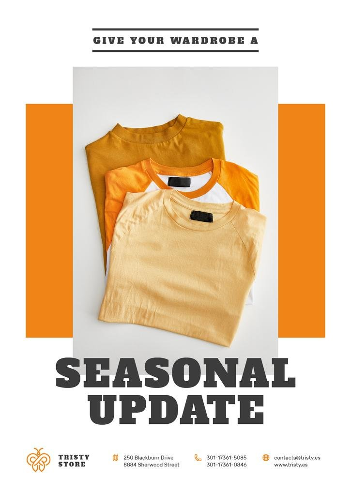 Clothes Store Ad with Basic T-shirts in Orange — Créer un visuel