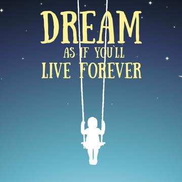 Dream Inspiration Girl Swinging on Sky Background