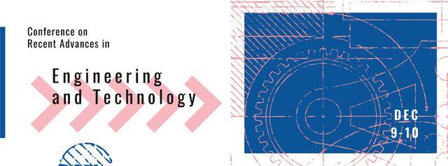 Modèle de visuel Cogwheel mechanical drawing - Facebook cover
