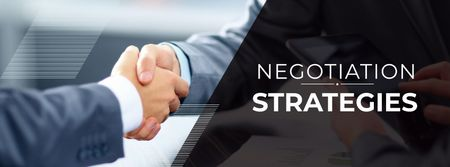 Negotiation Strategies with Business People shaking hands Facebook coverデザインテンプレート