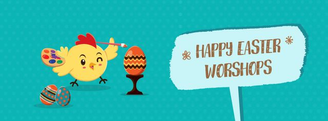 Easter chick coloring egg Facebook Video cover Design Template