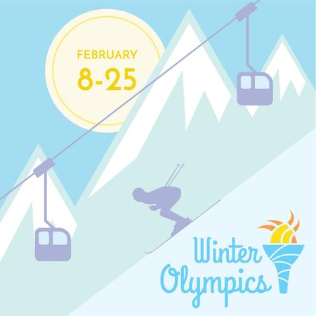 Winter Olympics with Skier in Mountains Instagram Design Template