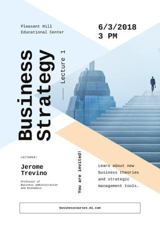 Business event ad with Man walking on stairs Invitation Tasarım Şablonu