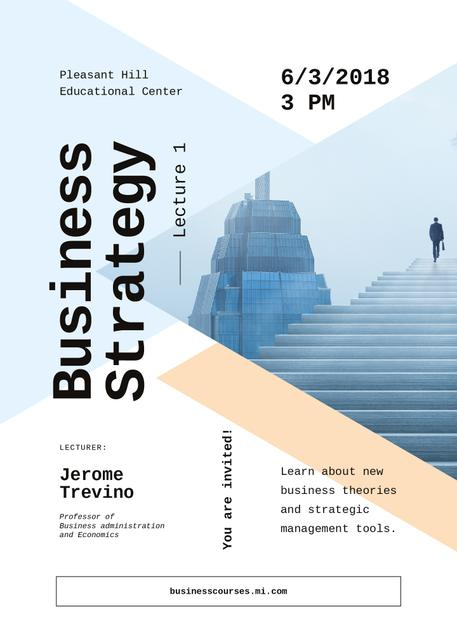 Plantilla de diseño de Business event ad with Man walking on stairs Invitation