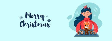 Plantilla de diseño de Girl with Christmas ginger cookies Facebook Video cover