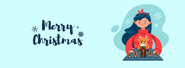 Template di design Girl with Christmas ginger cookies Facebook Video cover