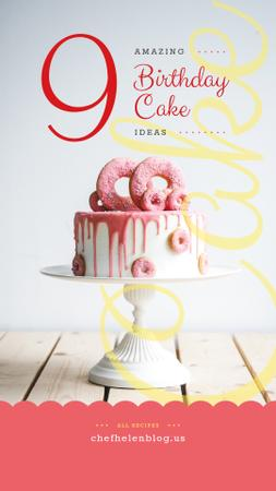Birthday Cake decorated with doughnuts Instagram Story Modelo de Design