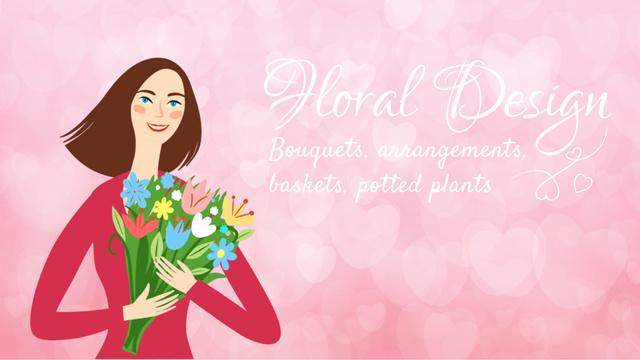 Florist Services Dreamy Girl Holding Bouquet in Pink Full HD video Tasarım Şablonu