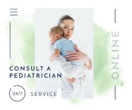 Plantilla de diseño de Pediatrician Consultation Service Mother Holding Baby Large Rectangle