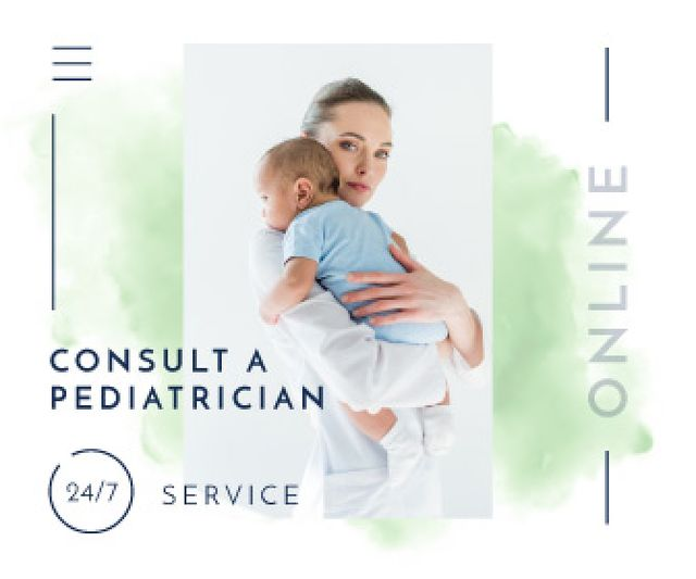 Pediatrician Consultation Service Mother Holding Baby Large Rectangle Design Template