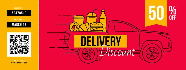 Delivery Discount with Car delivering Food Couponデザインテンプレート