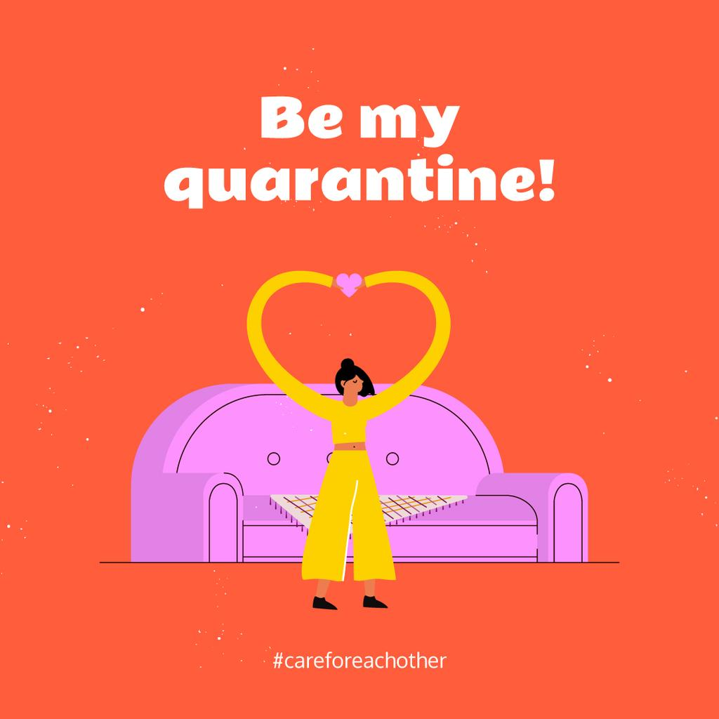 Quarantine concept with Woman Showing Heart by sofa —デザインを作成する