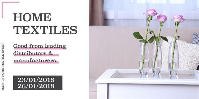 Plantilla de diseño de Home textiles global tradeshow Announcement Twitter