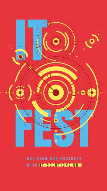 IT Fest Announcement Glowing cyber circles Instagram Story Tasarım Şablonu