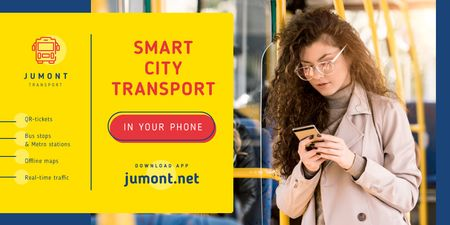 Ontwerpsjabloon van Twitter van City Transport Woman in Bus with Smartphone