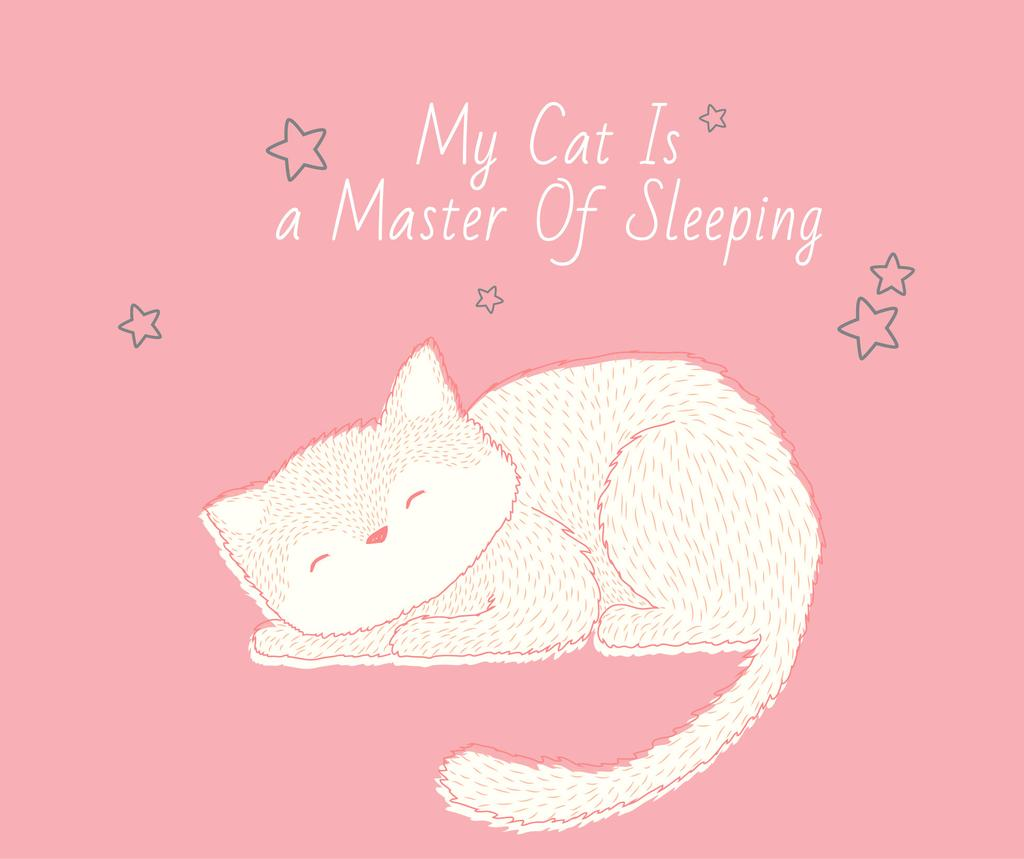 Cute Cat Sleeping in Pink — Créer un visuel