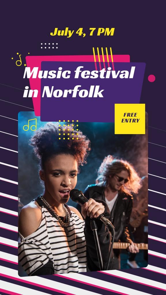 Music Festival Announcement Band on Stage — Crear un diseño
