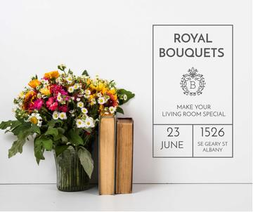 Florist Workshop ad with bouquet and books