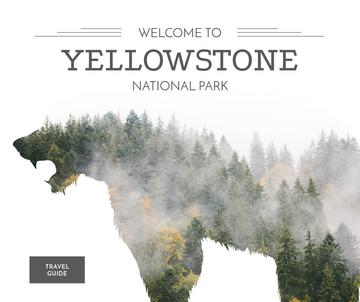 Yellowstone National Park with Bear silhouette