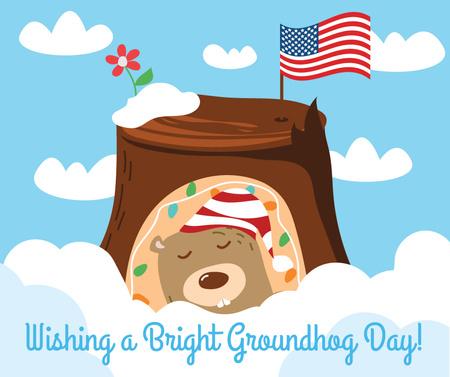 Modèle de visuel Cute funny animal on Groundhog Day - Facebook