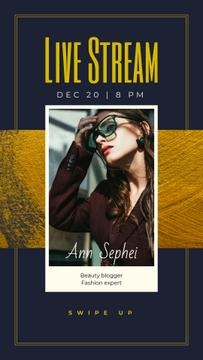 Blogger Stream Announcement Woman in Stylish Outfit and Sunglasses | Stories Template