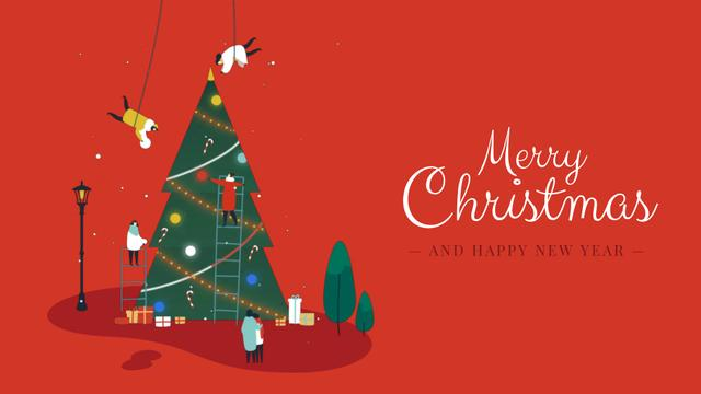 Plantilla de diseño de People decorating Christmas tree Full HD video