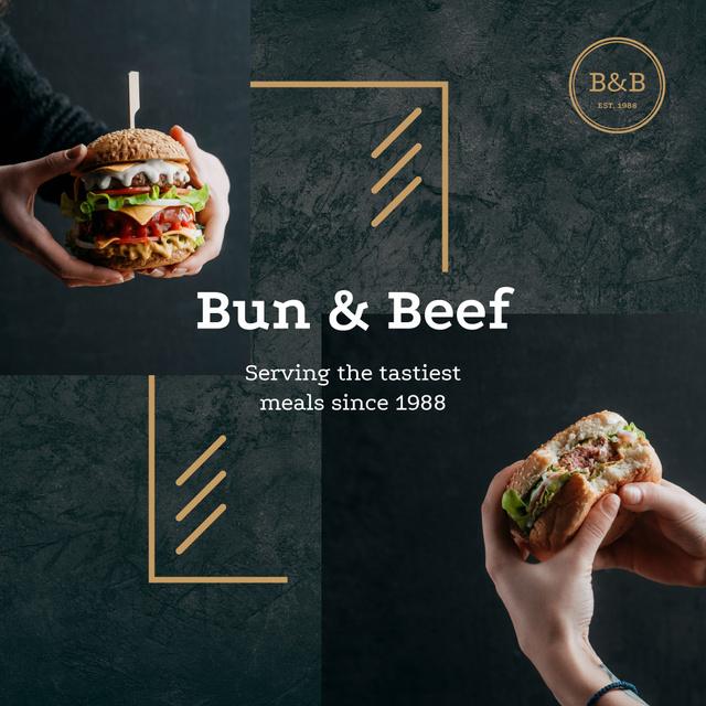 Restaurant Ad with hands holding Burger Instagram AD Tasarım Şablonu
