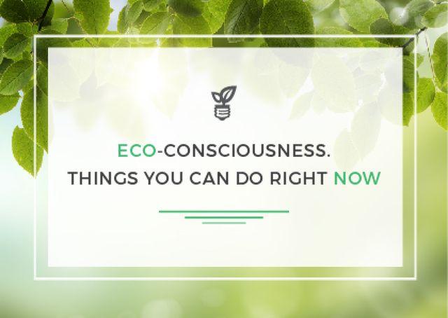 Ontwerpsjabloon van Card van Eco-consciousness concept