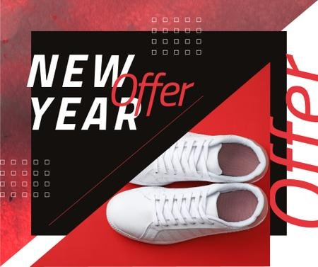 Template di design New Year Offer with Pair of running shoes Facebook