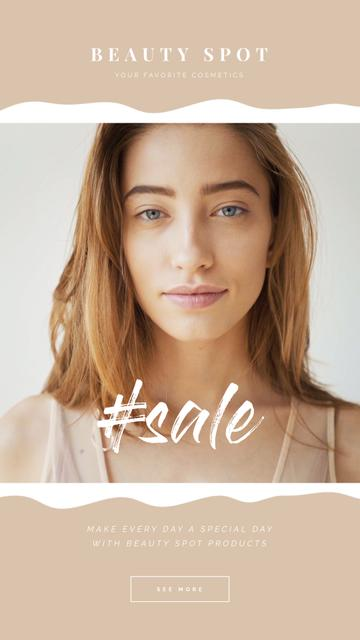 Modèle de visuel Beauty Sale Young Girl without Makeup - Instagram Video Story