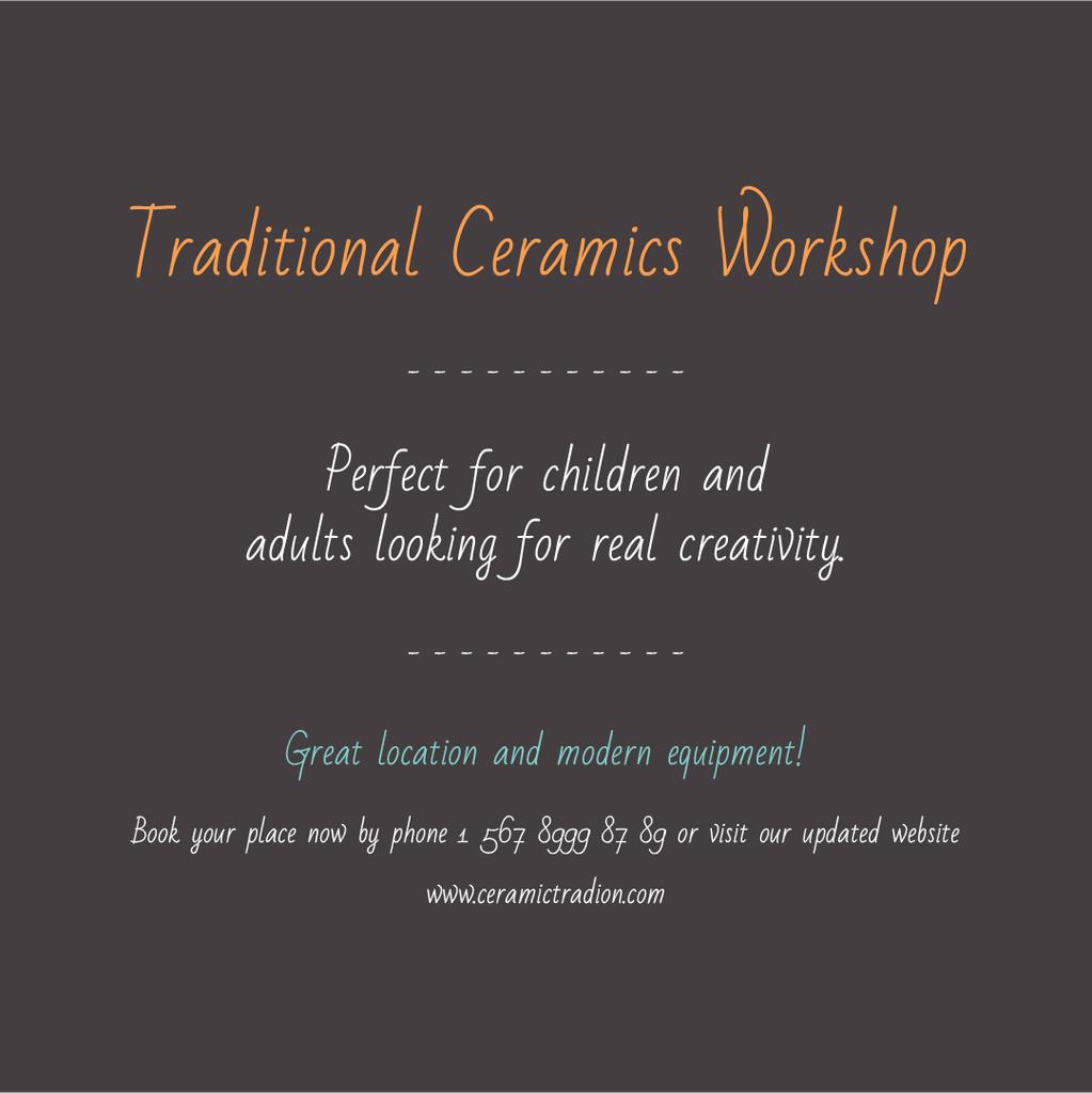 Traditional Ceramics Workshop — ein Design erstellen