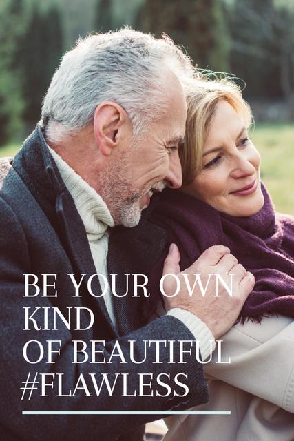 Plantilla de diseño de Happy Senior Couple in Park Pinterest