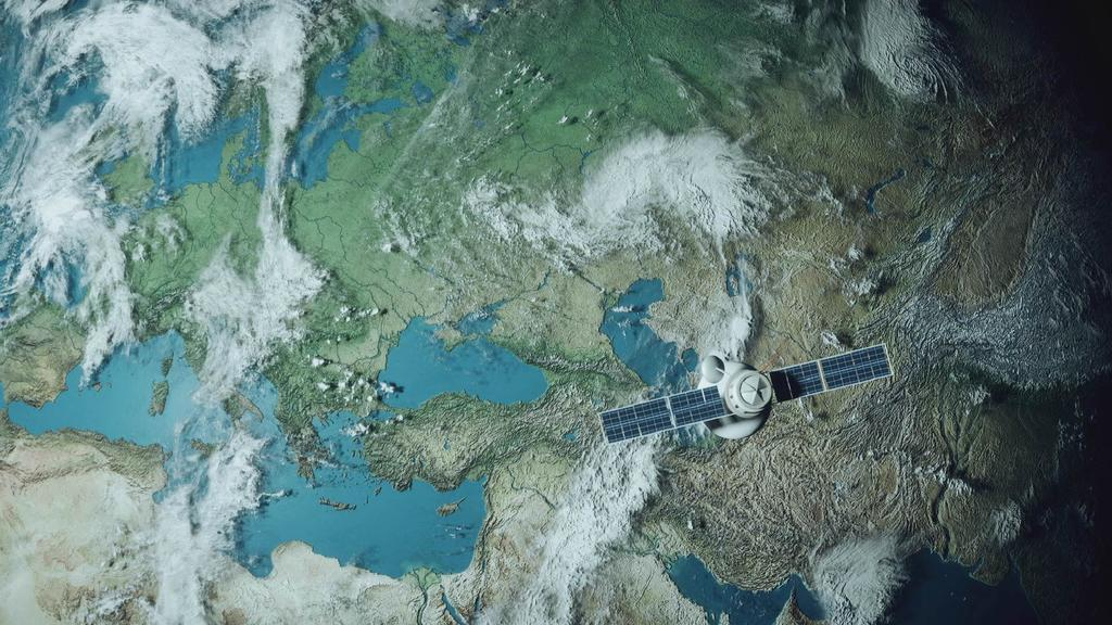 Satellite is flying above the Earth — ein Design erstellen