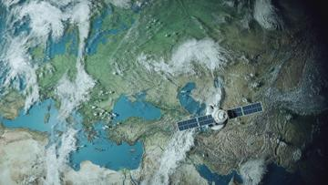 Satellite is flying above the Earth