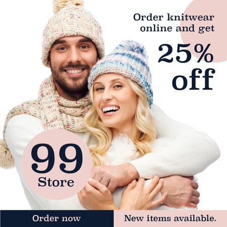 Ontwerpsjabloon van Instagram van Online knitwear store with Happy Couple