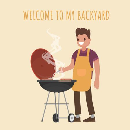 Man cooking by barbecue grill Animated Post Modelo de Design