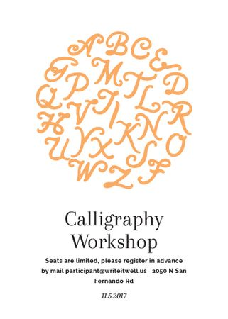Calligraphy Workshop Announcement Letters on White Invitation Tasarım Şablonu