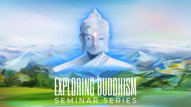Designvorlage Buddha image over mountains landscape für Full HD video